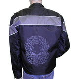 Vance Leather VL1550 Men's Textile Reflective Skull Motorcycle Jacket with Gray or Orange Stripe