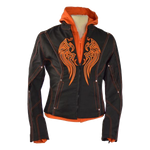 VL1581 Vance Leather Ladies Textile Jacket Embroidery and Removable Hoodie
