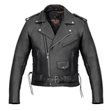 Vance Leather VL515 Men's Top Grain Leather Classic Motorcycle Jacket W/Lace Sides and Zip Out Liner