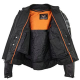 VL535 Reflective Skull Premium Cowhide Leather Motorcycle Jacket - Daytona Bikers Wear