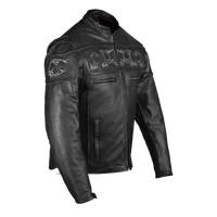 VL535 Reflective Skull Premium Cowhide Leather Motorcycle Jacket