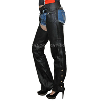 VL802 S Vance Leather Basic Economy Leather Chaps with Braid Trim