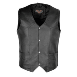 VL921 Vance Leather Premium Leather Men's Plain Side Vest with Single Seam Back