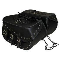 VS227 Vance Leather Large 3 Strap Studded Saddle Bag