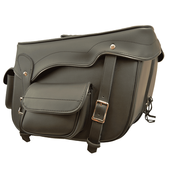 VS234 Black Saddle Bag with 2 Outside Pockets 16X11X6