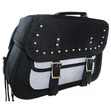 VS261 Vance Leather Medium Slant Studded Textile Saddle Bag