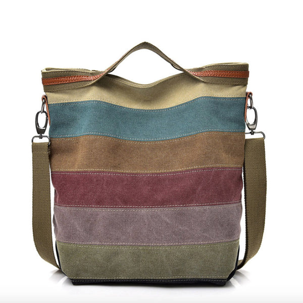 Large Canvas Messenger Pastel Stripe Shoulder Bag with Top Handle