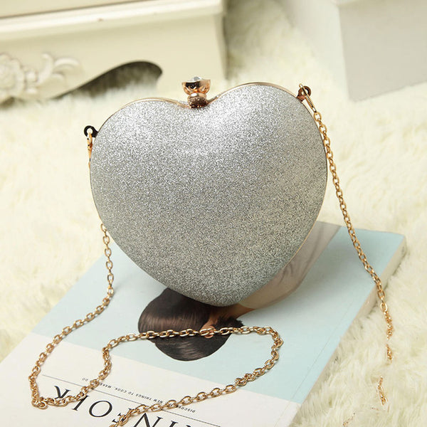 Heart shaped Evening Clutch Case with Chain