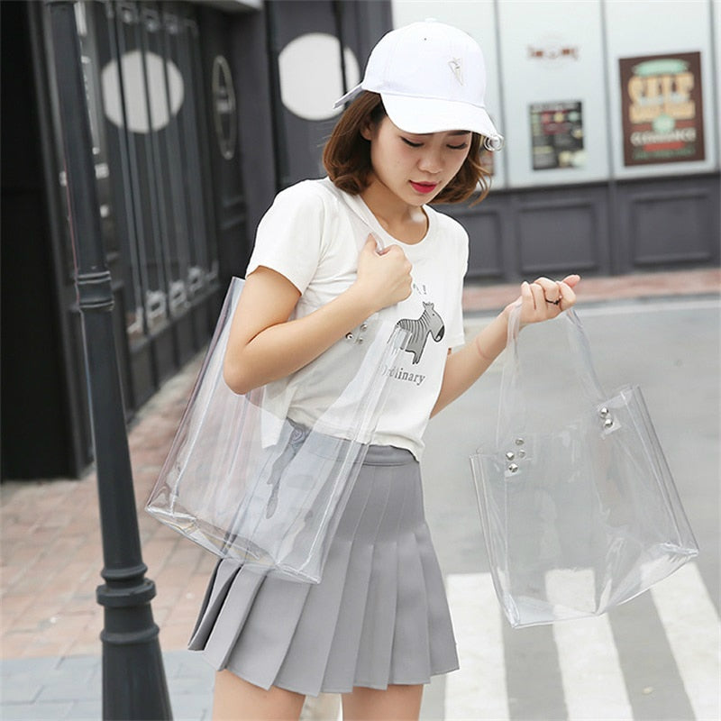Clear Jelly Shoulder Tote Bag