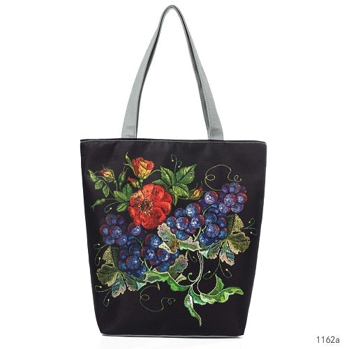 Flower Print Canvas Shoulder Bag