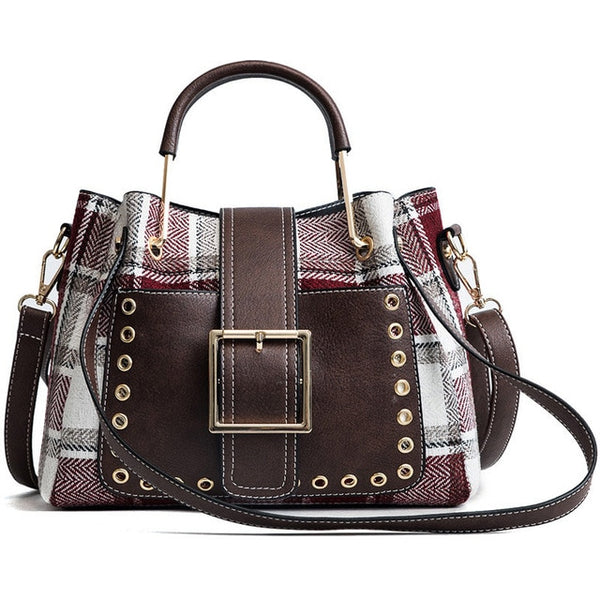 Plaid and Leather Big Buckle Handbag w/Rivets