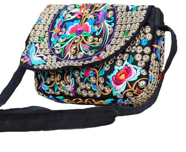 Boho Canvas Floral Embroidered Shoulder Bag