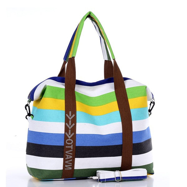 Colorful Striped Top Handle Tote Bag