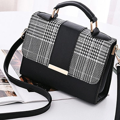 Small Retro Plaid Patchwork Handbag w/Strap