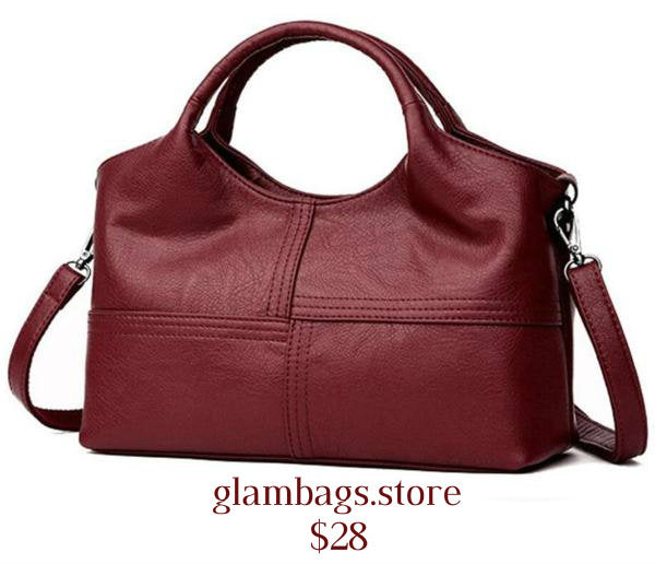 Oblong  Soft Leather Messenger Handbag w/Shoulder Strap