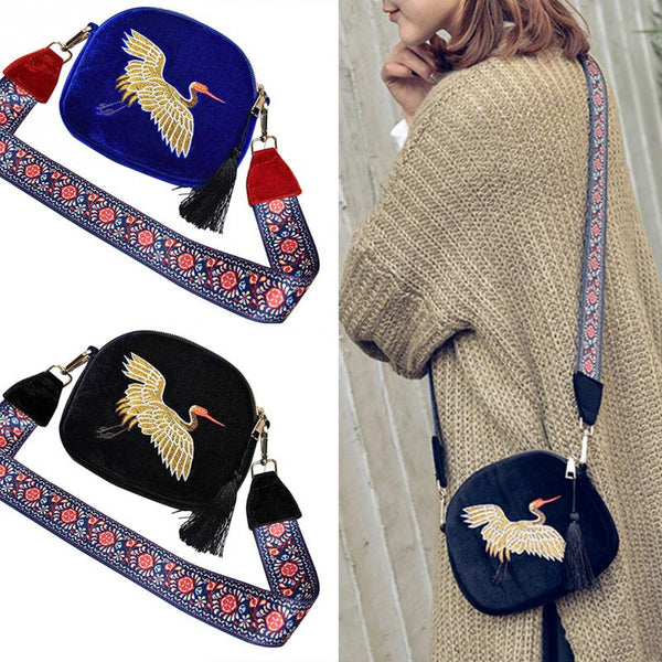 Corduroy Shoulder Bag with Embroidery Flying Crane