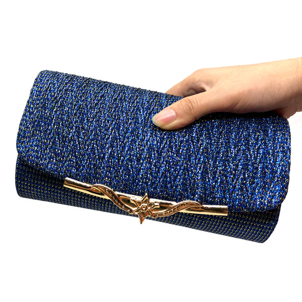Flashy Evening Clutch Bag w/Flower Hasp