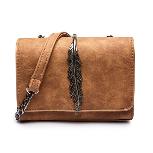 Mini Suede Shoulder Messenger Bag w/Feather