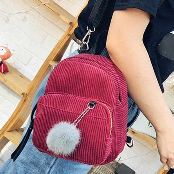 Mini Corduroy Backpack w/furball and Top Handle