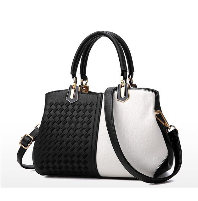Panelled two tone Handbag w/Strap