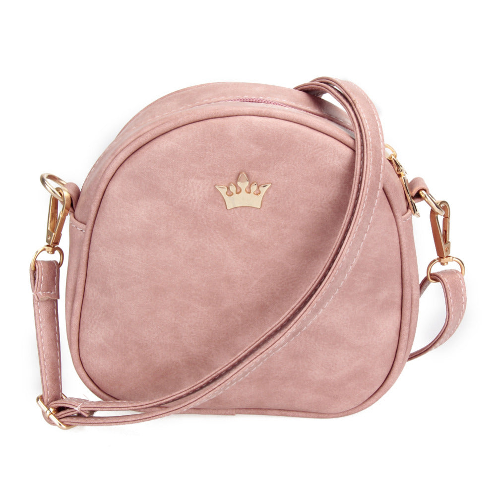 Shell shape Mini Shoulder Bag w/metal crown deco
