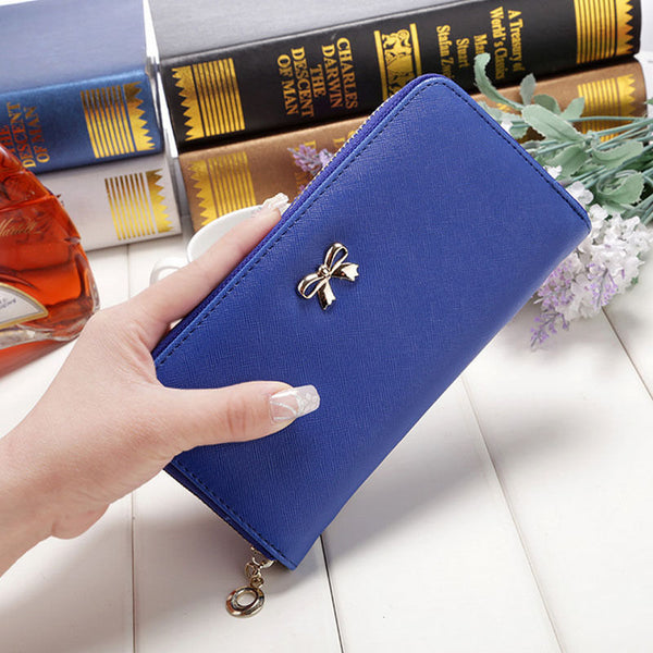 Long Leather Zip Wallet with Bow