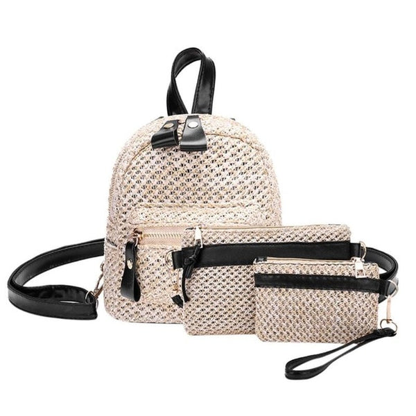 Summer Straw Weave Backpack Set w/Clutch Bag and Purse