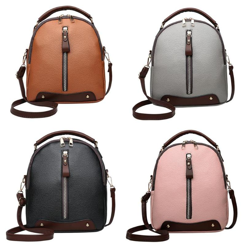 Leather Student Backpack w/Vertical Zipper