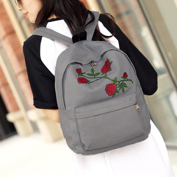 Embroidery Rose Chic Canvas Backpack