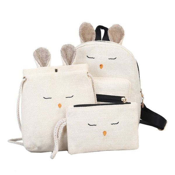 Linen Rabbit Backpack w/Tote Bag and Clutch Purse