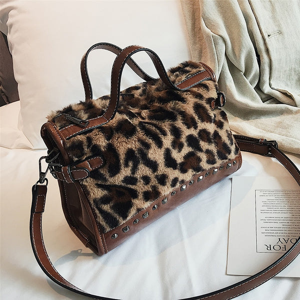 Studded Leopard print Velour Handbag with Shoulder Strap