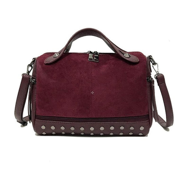 Casual Soft Leather Handbag with Rivets and Crossbody Strap