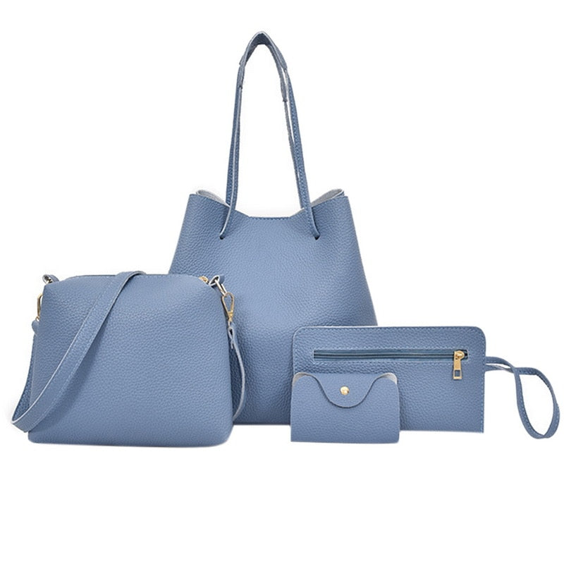 Solid Soft Leather Shoulder Bag and Clutch 4pc Set