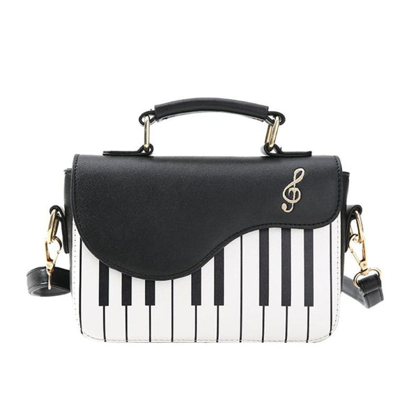 Cute Piano pattern Handbag w/Shoulder Strap