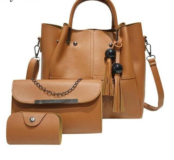 Versatile Casual Leather Tote Bag 3pc Set