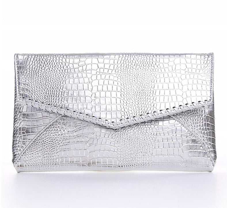 Shiny Serpentine pattern Envelope Clutch Bag