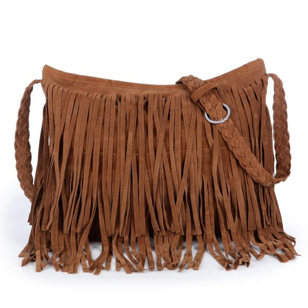 Fringed Leather Crossbody Hobo Bag