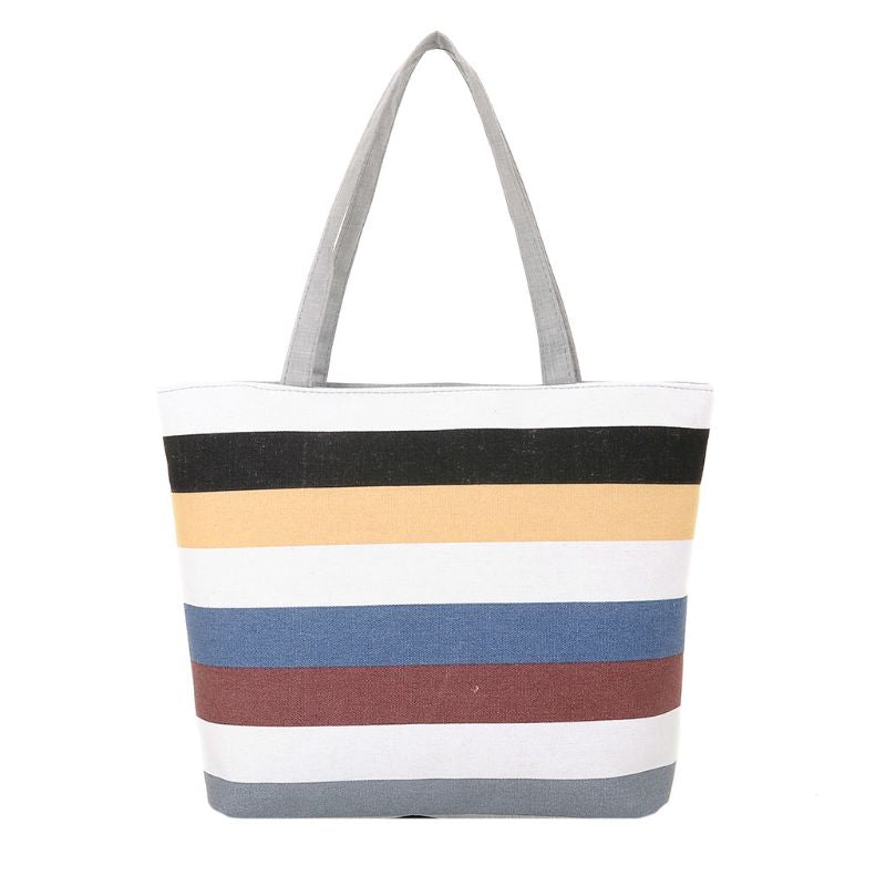 Bright Striped Shopping Tote
