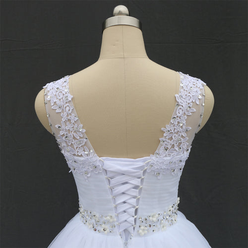 Women's Double Shoulder Lace Up Ball Wedding Dresses