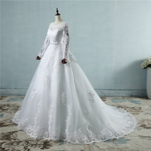 Women's lace edge big train long sleeves Wedding Dress