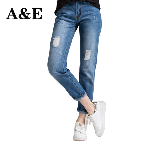 Women's Mid-Waist Holes Denim Jeans