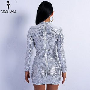Missord High Neck Long Sleeve Sequin
