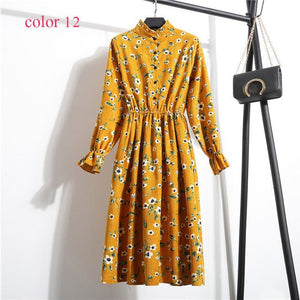 Women High Elastic Waist Vintage A-line Style Dress