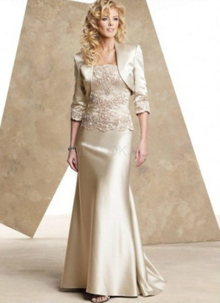 Champagne Satin Mother Of The Bride Dresses