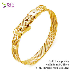 Diylocket 8mm 10mm 18mm Stainless Steel Bracelet