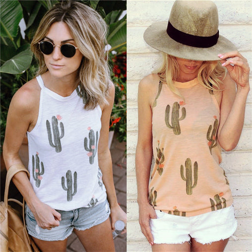 Women's Cactus Printed Sleeveless Tank Top
