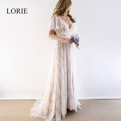 Women's V Neck Cap Sleeve Lace Beach Backless Wedding Gown