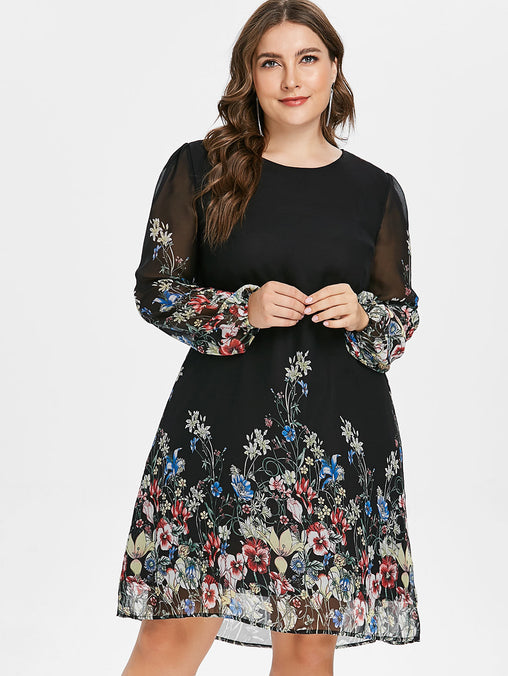 Women Plus Size Floral Print Tunic Dress