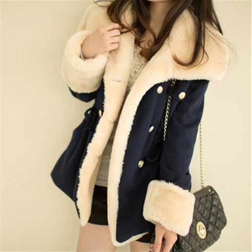 Women's Warm Wool Fur slim Jackets