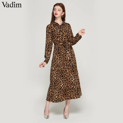 Women Leopard Print Ankle Length Dress